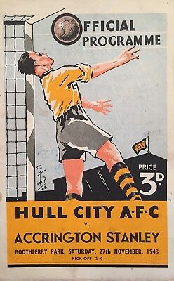 Hull City v Accrington Stanley  F A Cup  1948/49