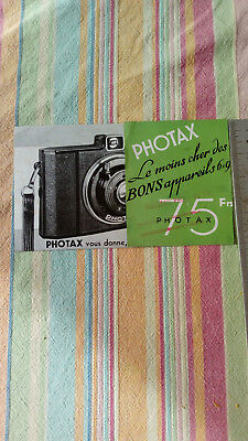 Catalogue Publicitaire Appareil Photo Photax TBE Vintage Photographie