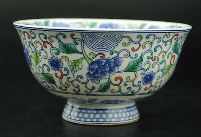 chinese famille rose Porcelain Hand-painted flower bowl / Qianlong mark b01