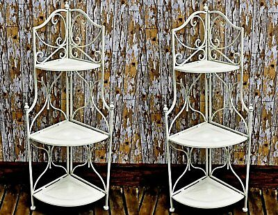 PAIR of Vintage Style Antique  3 Tier Wrought Iron Corner Shelf Unit Shabby Chic