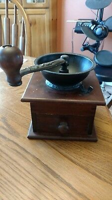 Vintage Wrightsville Hardware Co. wood box coffee grinder mill~Wooks Well~