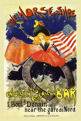 The Horse Shoe English England American Bar Vintage French Poster Repro FREE S/H
