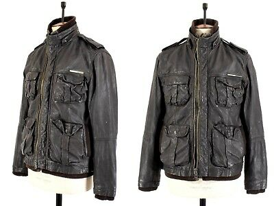 Men's SUPERDRY Black REAL LEATHER Motorcycle Biker Casual Zipper Jacket UK M