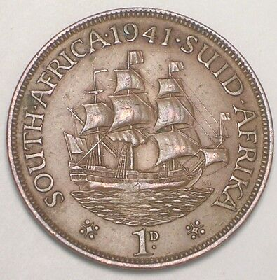 1941 South Africa African One 1 Penny Sailing Ship Coin VF+