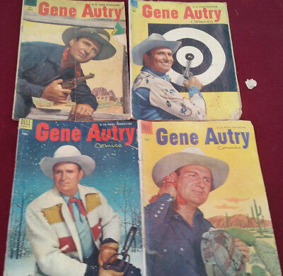 Gene Autry Lot of 4 Comics Dell Issues No.83,89,86 and 84 Fair to Good Condition