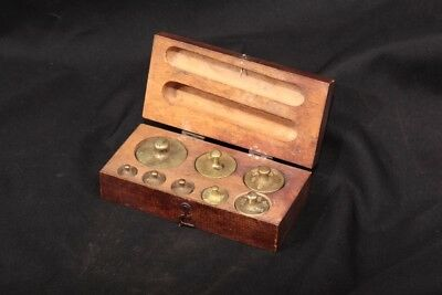 Logo Stamped Brass Check Weight Set 8 Weights Measured in DK .5-20 in Wood Box