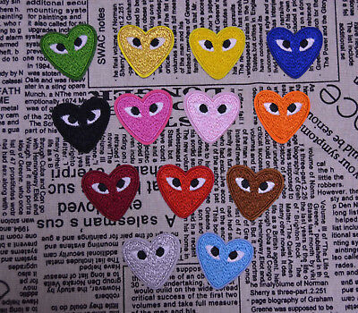 5PCS Comme Des Logo Iron On Patch Embroidered Heart Eyes Garcon Japan Play Badge