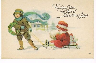ANTIQUE CHRISTMAS Postcard   MOTHER, HOLDING WREATH, PULLING GIRL ON SLED