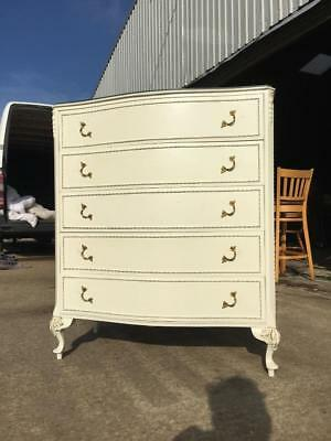 ANTIQUE VINTAGE CREAM Chest Of Drawers FRENCH LOUIS STYLE SHABBY CHIC
