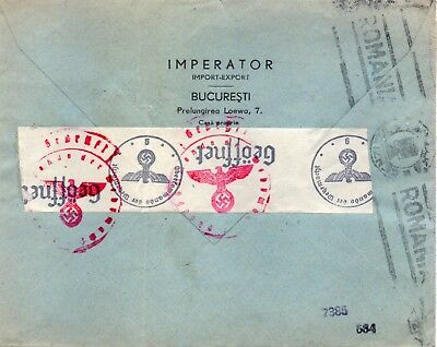 """Censored  cover """"BUCAREST to BREMEN"""" with german censor tapes on reverse."""
