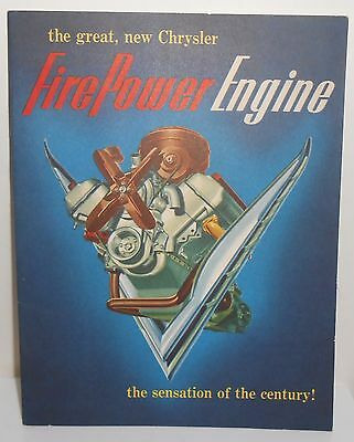 Chrysler Advertising Catalog Brochure 1951 Firepower Engine