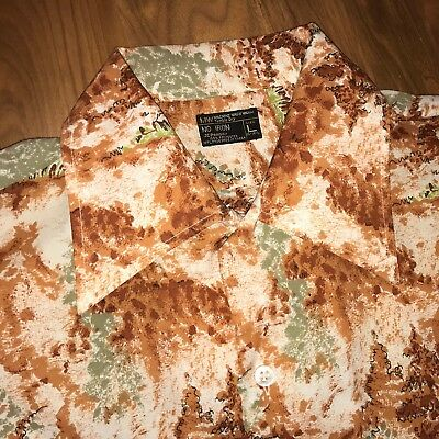 Vtg 60s 70s JCPenney Mens LARGE Disco POLYESTER Ugly SATURDAY NIGHT FEVER shirt