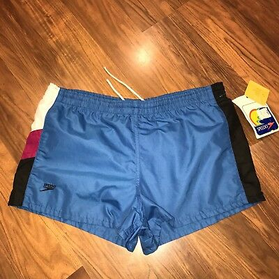 NEW Vtg 70s 80s SPEEDO Blue Swim Trunks Mens SMALL Track Shorts 28-30 NOS NWT