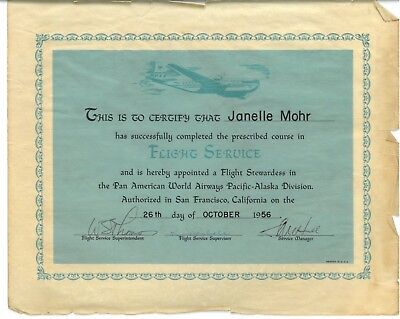"1956 Pan Am American ""Flight Service"" diploma: ""appointed stewardess"" Pacific"