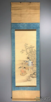 Chinese Scroll Painting on Paper, Maidens Feeding Silk Worms in Outdoor Scene