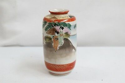 Vintage Japanese Kutani Porcelain Geisha Girls Hut Trees Cabinet Vase Signed