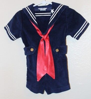 RARE Vintage Good Lad One Piece Short all Sailor Suit Nautical 2T US Navy