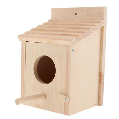 Traditional Solid Wood Bird Nesting Box Hanging Tree Wall House Feed Station