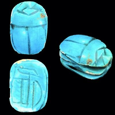 Beautiful Ancient Egyptian Glazed Scarab Bead Seal 664 - 332 Bc (1)