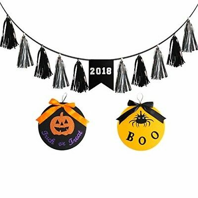Cokle 2018 Halloween Banner 6 Foot with 2 Wall Pendant Decorations Funny for Hom