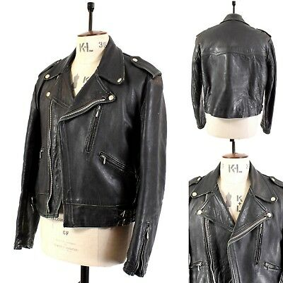 Men's Vintage 70's 80's Black REAL LEATHER Biker Motorcycle Punk Jacket UK M