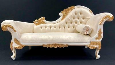 Stunning Ornate Chaise Sofa white  & gold frame & ivory fabric crystals rich