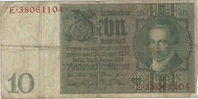 1929 10 Reichsmark Nazi Germany Currency Banknote Note Money Bank Bill Cash Wwii