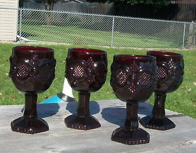 "4 Avon Cape Cod Ruby Red Small Goblet Cordials 4 5/8"" Tall Gothic Goth Design"