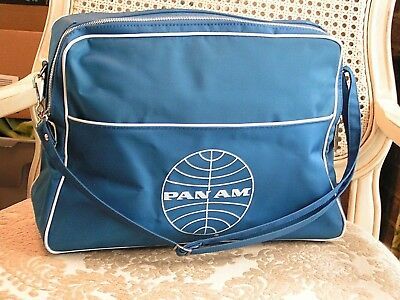 Vintage 1960 PAN AM AIRLINES Blue  CARRY TRAVEL BAG STRAP 15""