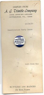 Lightburn And Billings Constitution Party 1968 Political Pin And Original Sales