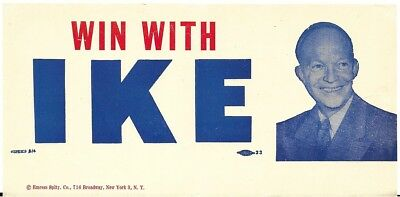 Win With Ike Dwight Eisenhower Vintage Political Campaign Decal