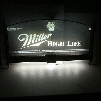 Vintage Miller High Life  Lighted Beer Sign Glass Panels Light Rare