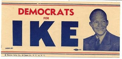 Democrats For Ike, Dwight Eisenhower Political Campaign Decal