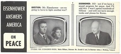 Eisenhower Answers For America Peace, Cost Of Living Campaign Card