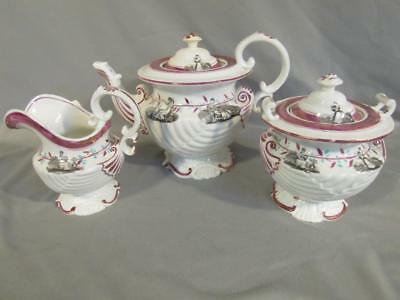 19Th C. Pink Luster Staffordshire Pottery 3 Pc Tea Set - Mom Playing With Child