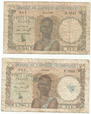 french west africa note  afrique occidentale 25 francs 1950 1951