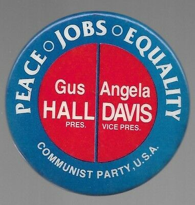 Gus Hall, Angela Davis Communist Party 1980 Political Campaign Pin