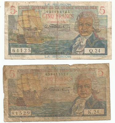 lot  2 x 5 francs  reunion bougainville  caisse centrale  outre mer note french