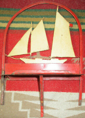 Antique Hand Painted Hand Made Metal Shelf Die Cut Three Masted Sailing Boat