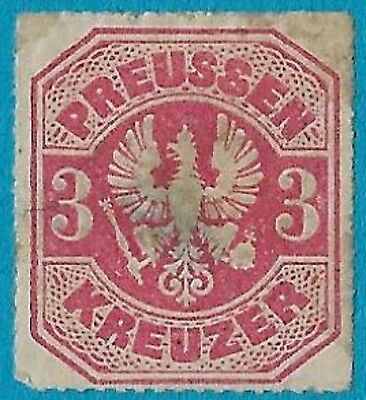 + 1867 Prussia German States Arms Eagle Raptor Embossed #25 A10 3kr MH fault