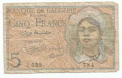 algerie  algeria 5 francs 8/2/1944 africa note  1944 french  colony billet