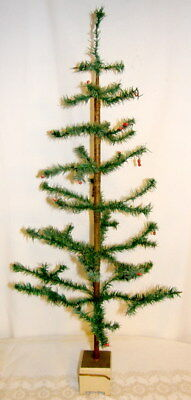 """Antique German Feather Tree Green with Red Berries 42"""" Ht. Wood Base"""