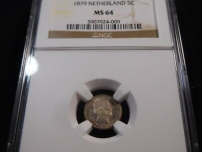 K30 Netherlands 1879 5 Cents NGC MS-64