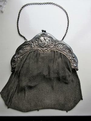 ANTIQUE SOLID SILVER LARGE MESH EVENING BAG - Embossed CHERUBS - French - 535g!