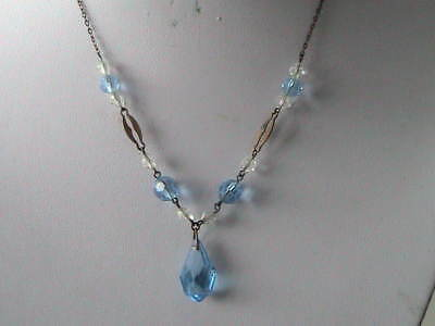 Vintage Art Deco Blue & White Faceted Glass Bead Necklace