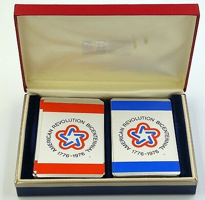 VTG 1976 American Revolution Bicentennial Playing Cards in Case