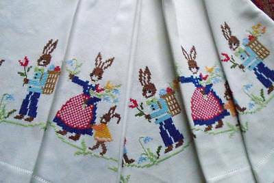 Unusual Vintage Hand Embroidered Linen Tablecloth~Delightful Hare Family~Flowers