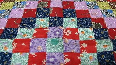 ANTIQUE EARLY 1900s HAND MADE POSTAGE STAMP QUILT BLOCKS PILLOW CASE COVER