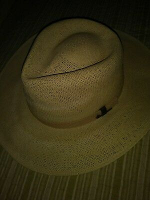 "RARE Boy Scouts of America Stetson Straw Hat w/Cotton Band/Metal Pin-Large-23""ID"