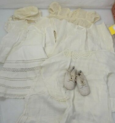 Lot Antique Hand Made Baby Infant Clothes Dresses w/ Hat & Shoes